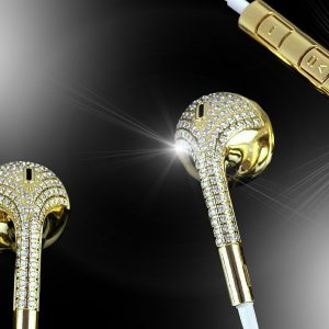 24ct gold & diamond earphones