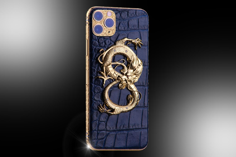 24ct Gold iPhone 11 Pro Max Diamond Dragon Edition